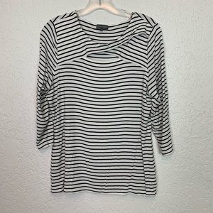 Vince Camuto black white stripe shirt L cutout